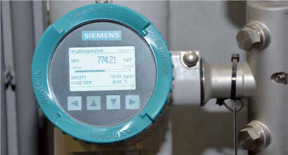 Flow measurement in denaturing of alcohol